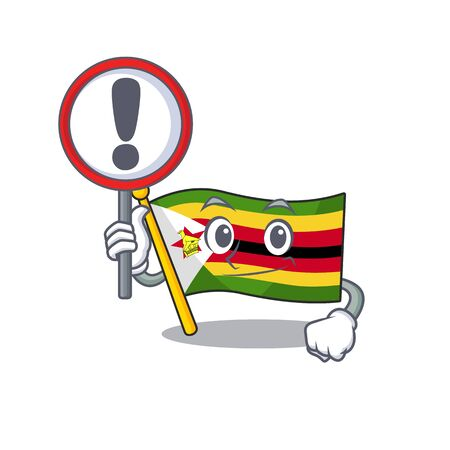 Cartoon style of flag zimbabwe with sign in his hand. Vector illustration