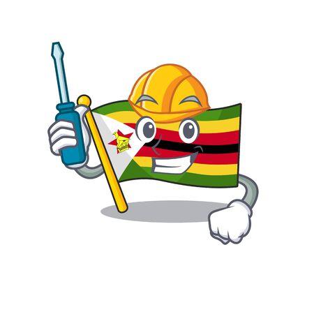 Cool automotive flag zimbabwe presented in cartoon character style. Vector illustration Illustration