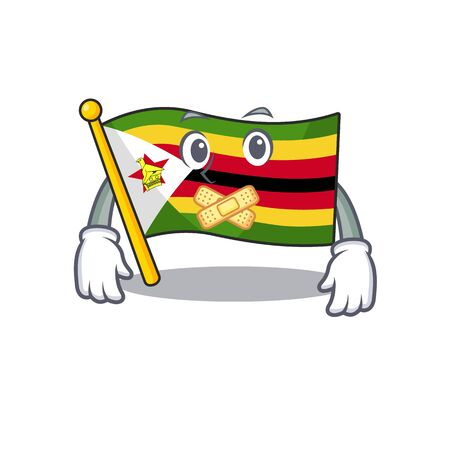 Flag zimbabwe mascot cartoon character style making silent gesture. Vector illustration
