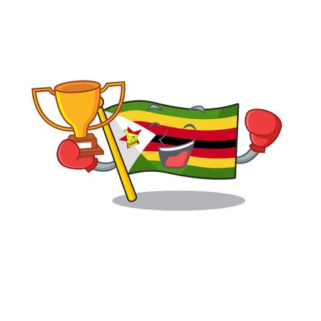 Super cool Boxing winner flag zimbabwe in mascot cartoon style. Vector illustration