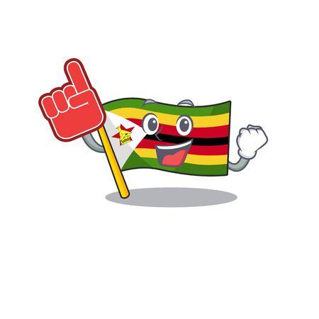 Foam finger flag zimbabwe on mascot cartoon style. Vector illustration