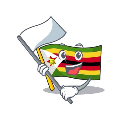 cute flag standing with flag zimbabwe cartoon character style. Vector illustration