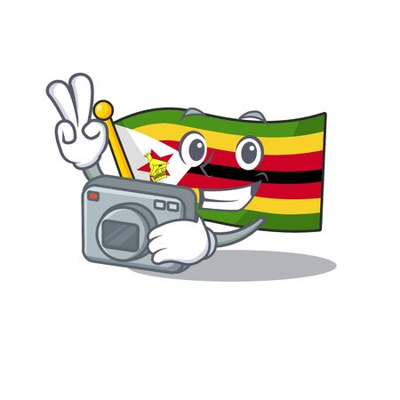 a professional Photographer flag zimbabwe cartoon character with a camera. Vector illustration