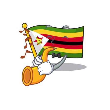 Supper cool flag zimbabwe cartoon character performance with trumpet. Vector illustration