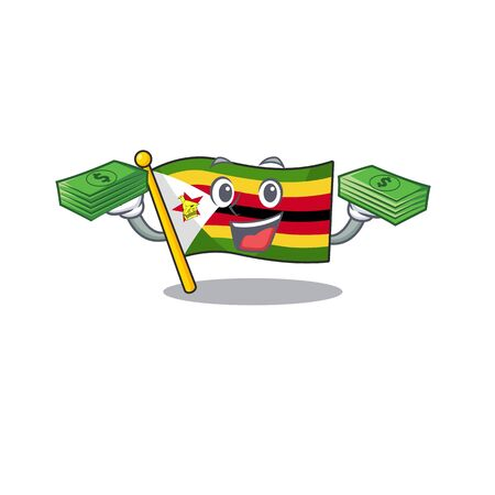 Confident smiley flag zimbabwe character with money bag. Vector illustration