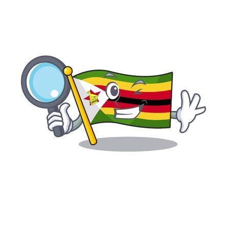 One eye flag zimbabwe Detective cartoon character style. Vector illustration