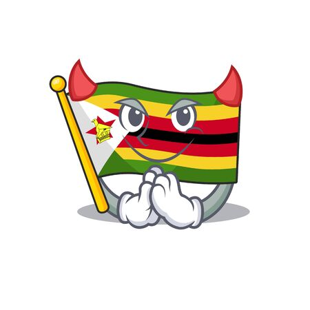 Cartoon character of flag zimbabwe on a Devil gesture design. Vector illustration