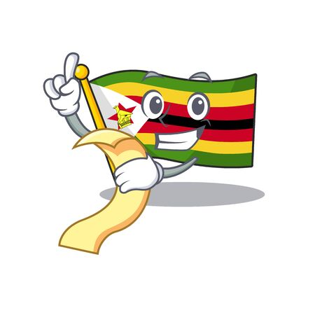 Cute flag zimbabwe cartoon character with menu ready to serve. Vector illustration