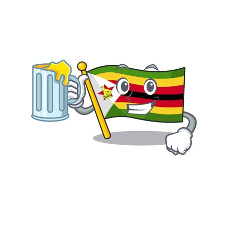 Happy flag zimbabwe holding a glass with juice. Vector illustration