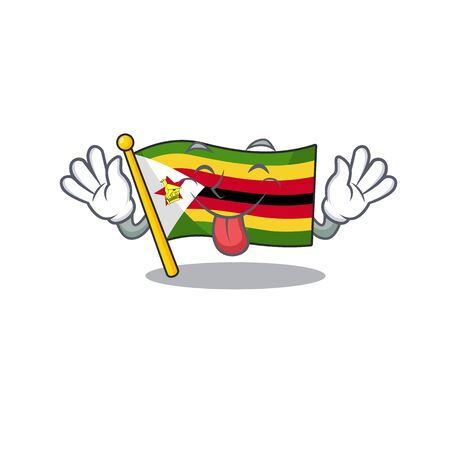 Super cute flag zimbabwe cartoon design with Tongue out. Vector illustration Ilustracja