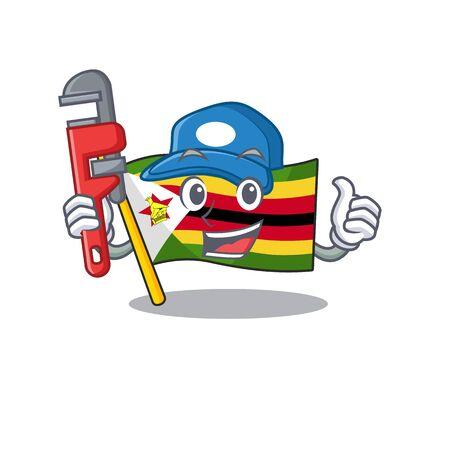 Plumber flag zimbabwe on cartoon character mascot design. Vector illustration