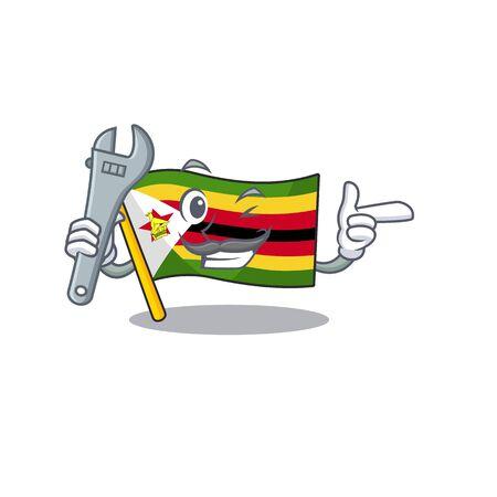 Professional Mechanic flag zimbabwe mascot cartoon character style. Vector illustration