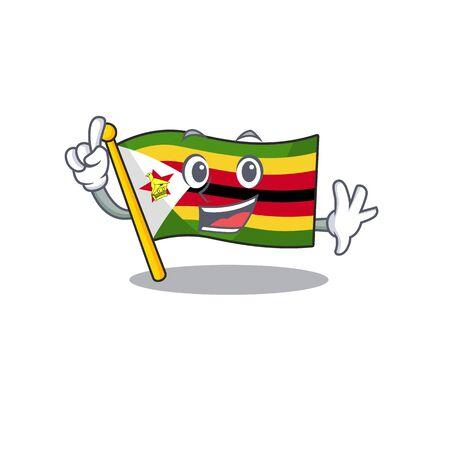 Finger flag zimbabwe in mascot cartoon character style. Vector illustration