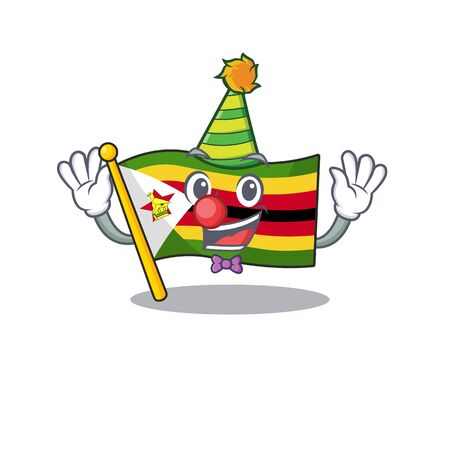 Cute Clown flag zimbabwe placed on cartoon character mascot design. Vector illustration