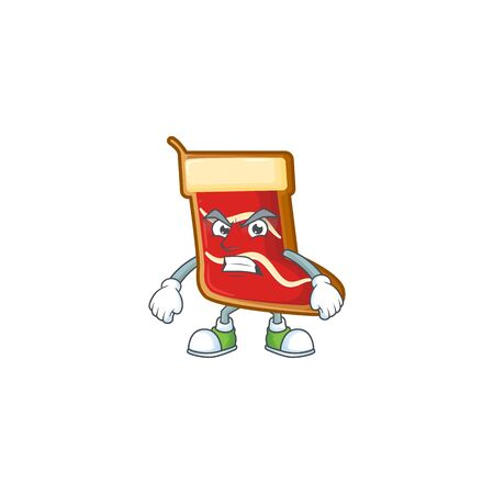 Santa shoes cookies cartoon character style with angry face Standard-Bild - 134897542