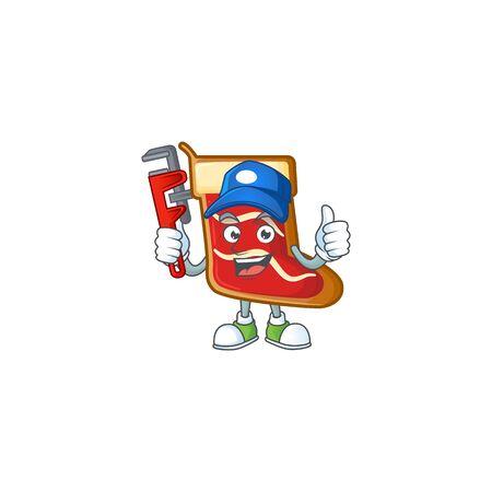Plumber santa shoes cookies on cartoon character mascot design