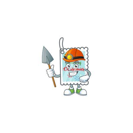 Cool Miner christmas greeting card cartoon mascot design style. Vector illustration