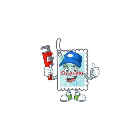 Plumber christmas greeting card on cartoon character mascot design. Vector illustration