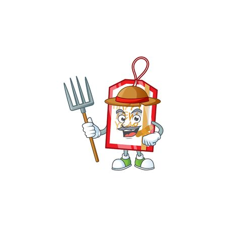 Farmer happy new year tag cartoon character with hat and tools. Vector illustration