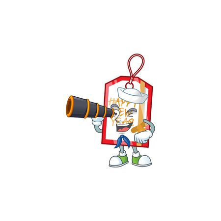 Smiling happy Sailor with binocular happy new year tag cartoon design. Vector illustration