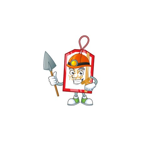 Cool Miner happy new year tag cartoon mascot design style. Vector illustration