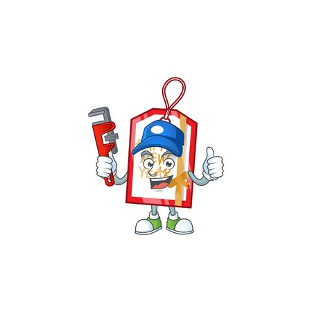 Plumber happy new year tag on cartoon character mascot design. Vector illustration