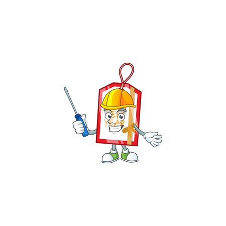 Cool automotive happy new year tag presented in cartoon character style. Vector illustration