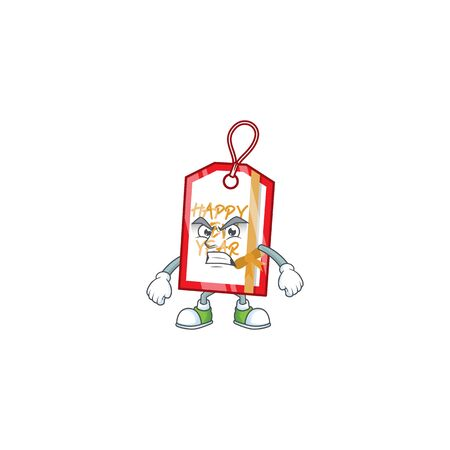 Happy new year tag cartoon character style with angry face. Vector illustration Standard-Bild - 134891610