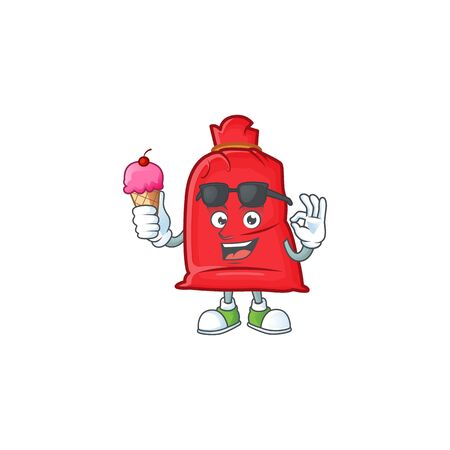 Mascot character featuring santa bag close with ice cream. Vector illustration
