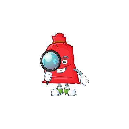One eye santa bag close Detective cartoon character style