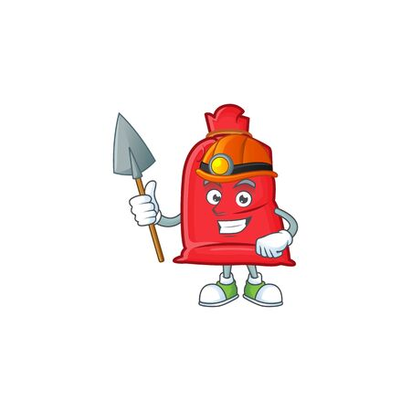 Cool Miner santa bag close cartoon mascot design style. Vector illustration