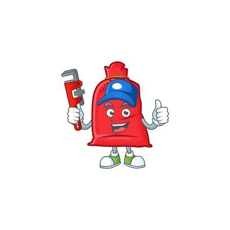 Plumber santa bag close on cartoon character mascot design. Vector illustration