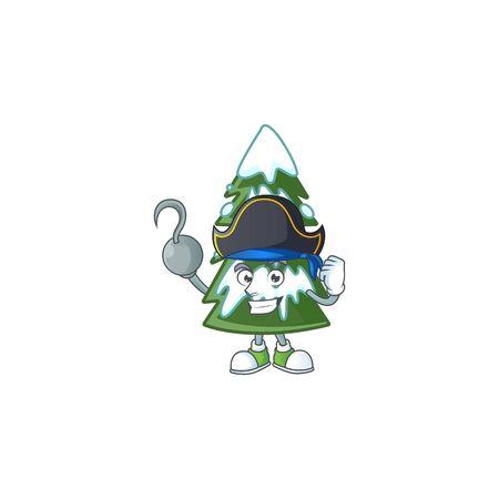 one hand Pirate christmas tree snow cartoon style