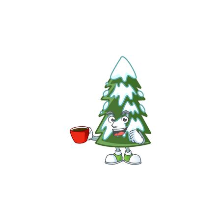 Sweet christmas tree snow cartoon character with a cup of coffee