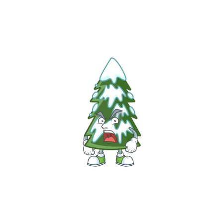 Mascot of angry christmas tree snow cartoon character design Standard-Bild - 134920982