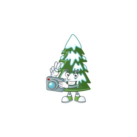 a professional Photographer christmas tree snow cartoon character with a camera. Vector illustration Imagens - 134918645