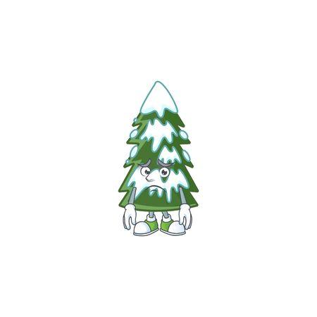 Christmas tree snow Cartoon character showing afraid look face