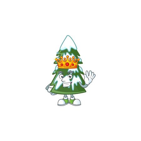 King of christmas tree snow on cartoon mascot style design