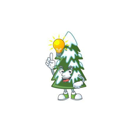 Have an idea cute christmas tree snow on a cartoon style. Vector illustration Ilustração