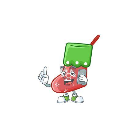 a cartoon style of santa socks speaking on the phone. Vector illustration Ilustração
