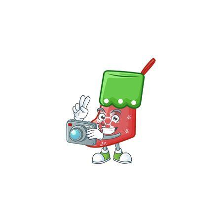 a professional Photographer santa socks cartoon character with a camera. Vector illustration Imagens - 134924123
