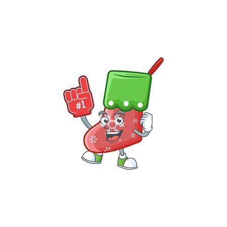 Foam finger santa socks on mascot cartoon style Ilustração