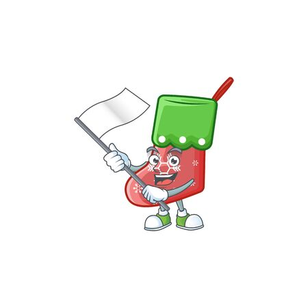 cute flag standing with santa socks cartoon character style