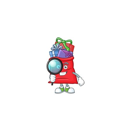 One eye santa bag full of gift Detective cartoon character style Ilustração