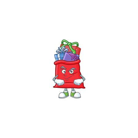 Santa bag full of gift mascot cartoon style with Smirking face Ilustração