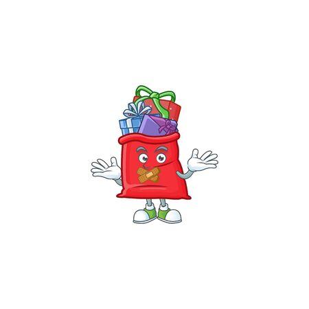 Santa bag full of gift mascot cartoon character style making silent gesture
