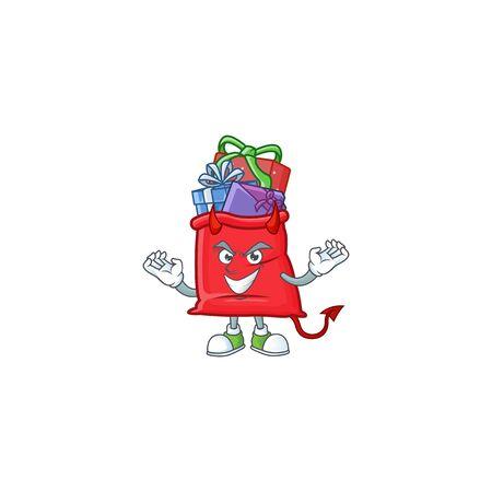 mascot cartoon of santa bag full of gift on a Devil gesture design