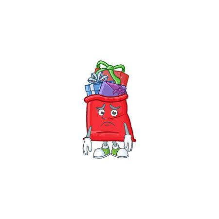 Santa bag full of gift Cartoon character showing afraid look face Ilustração