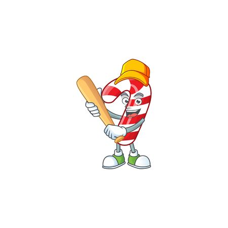 Funny smiling christmas candy cane cartoon mascot playing baseball