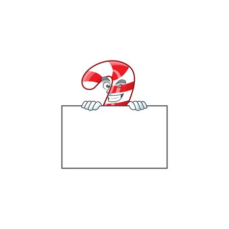 Grinning christmas candy cane cartoon character style hides behind a board